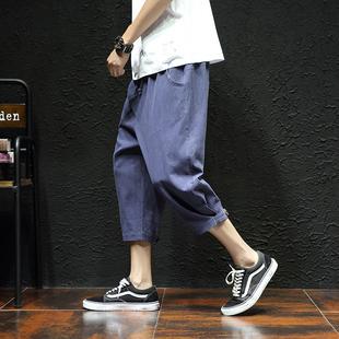 夏季韩版亚麻七分裤男宽松短裤薄款学生大码阔腿运动裤棉麻潮马裤