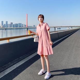 棉麻連衣裙女夏季2019新款polo領小清新很仙的法國式小眾亞麻長裙