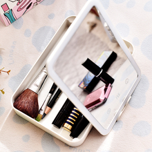 意飞扬LED化妆镜便携收纳镜美容镜 USB补光灯 学生镜子宿舍收纳盒