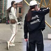 女秋两件套时尚 学生运动休闲学院风复古韩版 春薄款 减龄原宿bf套装