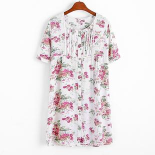 2018夏季棉麻短袖衬衫女小清新印花中长款开衫