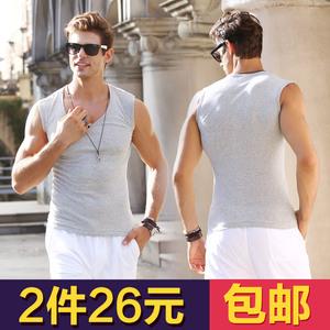 男士背心纯棉夏季内衣青年健身修身型无袖t恤男运动宽肩跨栏坎肩棒球服