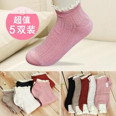 5双包邮 森系竹纤维袜子甜美木耳花边少女短筒袜女士船袜吸汗防臭