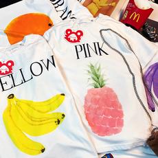 2017夏欧美香蕉菠萝樱桃宽松纯棉短袖男情侣字母印花水果t恤女潮
