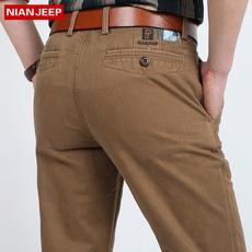 吉普盾秋装纯色军绿男裤 青年jeep商务休闲裤 直筒纯棉长裤免烫