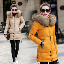 Female parkas winter warm fur collar coat out jacket down dress