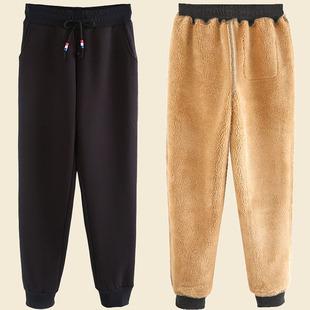 羊羔绒裤子女运动裤加绒加厚宽松外穿卫裤冬季保暖棉裤加大码胖MM