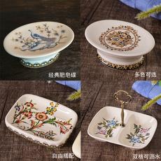 特价欧式复古陶瓷肥皂盒 沥水创意美式香皂盒浴室卫生间皂盒双层