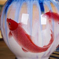 送底座景德镇陶瓷器特色窑变山水裂纹仿古花瓶家居工艺品摆件装饰