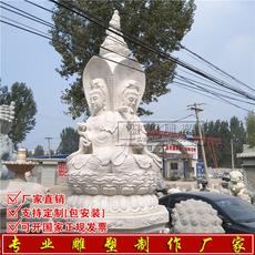 曲阳石雕汉白玉观音精雕三面观音佛像坐观音送子观音寺庙寺院雕塑