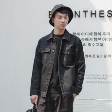 COKEIN秋冬新款男士外套原创潮流复古黑色牛仔夹克男短款青年男装
