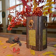 中式复古原创花插守竟诺浠ㄆ扛鲂载家居摆件创意禅意木质干花花器