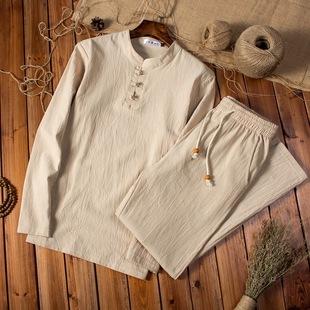 春夏季中年男士棉麻运动套装中老年人长袖T恤亚麻长裤爸爸装一套