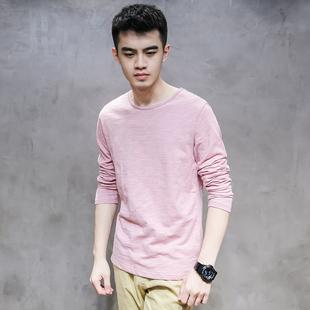 男士长袖T恤男款新款春装个性白色竹节纯棉麻黑色日系打底衫秋季
