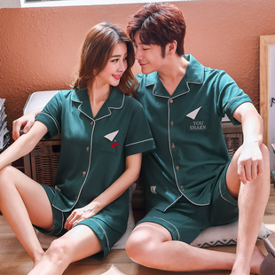 情侣睡衣女夏季纯棉短袖韩版夏天睡衣男士可爱全棉薄款家居服套装