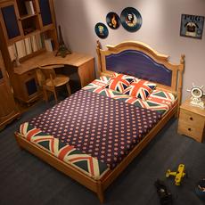 北欧全实木儿童床男孩蓝色1.2米青少年单人床1.5M儿童房家具1.35