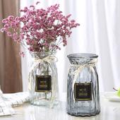 欧式创意玻璃花瓶透明彩色竖棱水培工艺玻璃花瓶客厅装 饰插花摆件