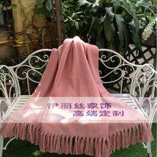 搭毯样板房现代风格别墅样板装饰搭毯床尾毯搭藕粉色羊毛流苏搭巾