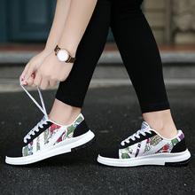 学生鞋子女夏季ins帆布鞋女韩版潮手绘鞋女生超火的板鞋潮运动鞋