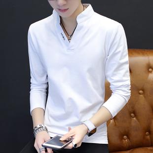 男士长袖T恤2018春季新款男装学生薄款纯棉衣服青年白色帅气上衣