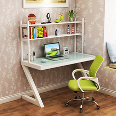 电脑桌台式家用 简约现代书柜组合办公书桌玻璃学生写字桌台 书架