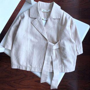 時尚短款風衣女童純棉上衣七分袖寶寶薄款外套寬松時髦-6.22