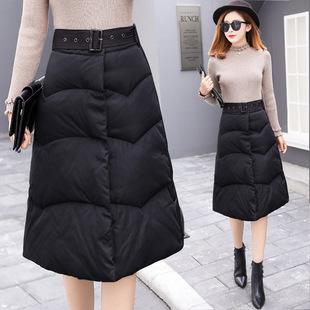 一片式半身裙2018冬季新款羽绒棉中长裙送腰带收腰a字裙大码裙子