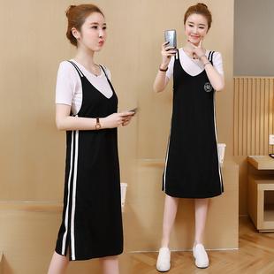 2019夏季新款韩版气质显瘦中长款纯棉T恤背带裙两件套装连衣裙子