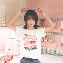 夏棉半袖 T恤女2018新款 百搭上衣ulzzang潮装 短袖 白色学生宽松韩版