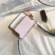 2017夏季新款女包撞色多隔层风琴包包手提单肩斜挎小包包女小方包