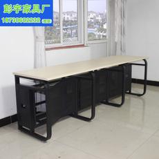 单排三人多人电脑网吧网咖办公桌学生桌防火板桌面后放机箱带锁