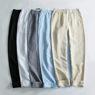亚麻裤男士夏季薄款透气大码宽松长裤休闲运动沙滩裤青年棉麻裤男