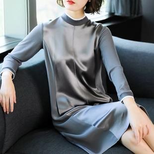2018春装连衣裙女新款韩版长袖小立领裙子气质大码宽松时尚中长款
