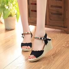 夏季凉鞋新款女鞋厚底坡跟18韩版甜美一字式扣带唯美时尚外穿潮款