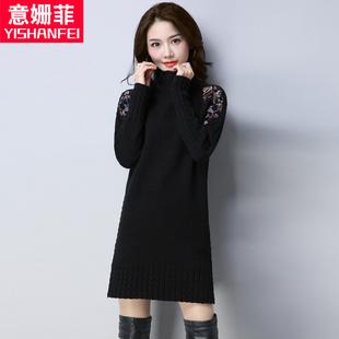 2018新款半高领绣花长袖套头毛衣女秋冬中长款韩版宽松针织打底衫