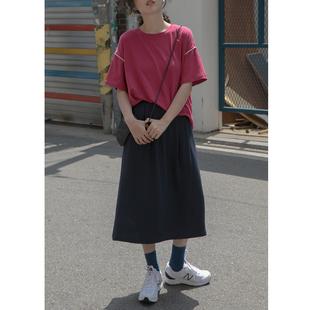 卡农 棉麻后开叉中长款半身裙女2019新款夏季韩版高腰显瘦a字裙