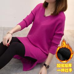 冬季新款加大码韩版加绒V领套头毛衣中长款女宽松时尚减龄打底衫