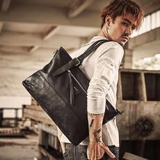 佑一良品男士单肩包手提包商务公文包电脑包横款斜挎男包潮休闲包
