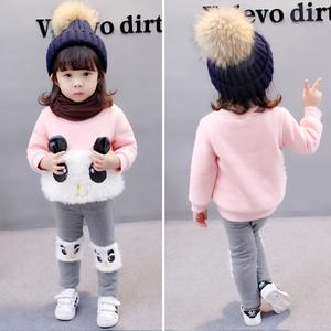 女宝宝冬装套装新款保暖卫衣冬季女童韩版1-2-3岁加绒加厚两件套女童套装