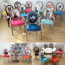 美式实木餐椅欧式休闲椅子创意美甲椅酒店咖啡厅复古做旧扶手椅子
