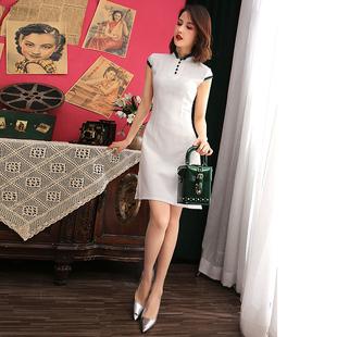 新式旗袍改良版连衣裙白色短款棉麻气质复古优雅中国风年轻款少女