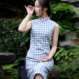 日本购2019热销春秋文艺气质立领长袖连衣裙复古修身显瘦棉麻旗袍