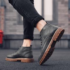 男鞋冬季鞋子男韩版潮流英伦风百搭低帮马丁靴男皮鞋男士休闲鞋潮