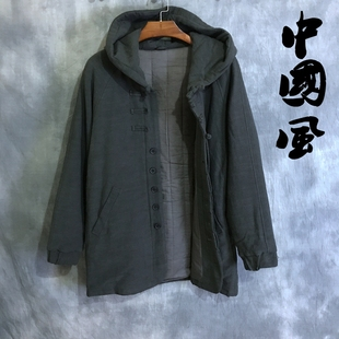 冬季男士中国风唐装棉衣中长款青年棉服棉麻外套中式亚麻汉服男装
