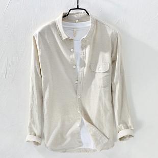 新款男式棉麻长袖衬衣休闲时尚百搭纯色亚麻口袋方领清新衬衫青年