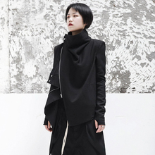 SIMPLE BLACK autumn new dark ro wind neutral handsome lady jacket jacket