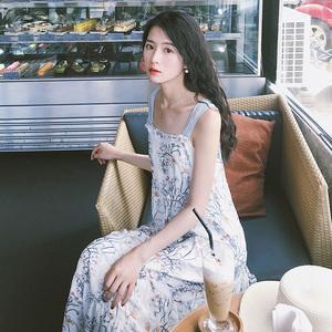 梅子熟了 文艺中长款吊带裙 复古温柔风雪纺连衣裙女2018夏季新款连衣裙