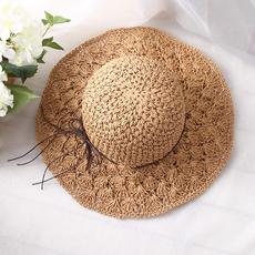 渔夫帽 女夏天草帽小清新沙滩帽潮百搭韩版太阳帽大檐遮阳帽子女