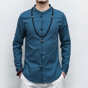 春季亚麻衬衫长袖棉麻衣中国风男装修身盘扣衬衣大码中式唐装上衣