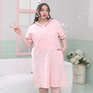 夏季女士韩版柠檬纯棉V领宽松加肥加大胖mm特大码睡裙200斤家居服